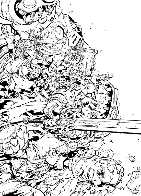 Comic Inking Time Lapse – Battlechasers